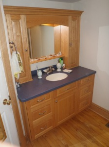 Oak raised panel vanity